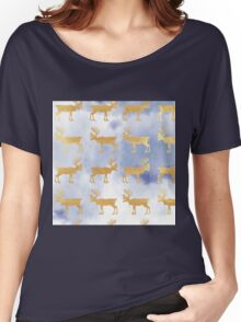 Gold,rein deer,on sky blue background,pattern,modern,trendy Women's Relaxed Fit T-Shirt