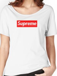 Supreme   Stripe   Box Logo   White Background   High Quality! Women's Relaxed Fit T-Shirt
