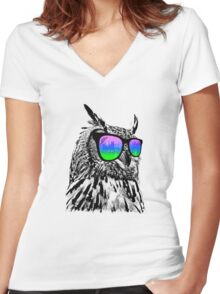 Cool Owl 1 Women's Fitted V-Neck T-Shirt