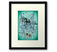 Cute Girl On The Swing In The Sky Framed Print