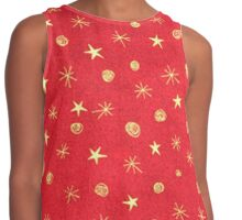christmas pattern,gold stars on red background,modern,trendy,christmas,pattern Contrast Tank