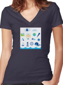 Nautic, sailor and adventure icons - blue Women's Fitted V-Neck T-Shirt