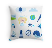Nautic, sailor and adventure icons - blue Throw Pillow