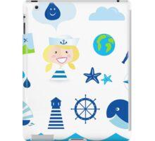 Nautic, sailor and adventure icons - blue iPad Case/Skin