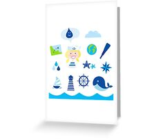 Nautic, sailor and adventure icons - blue Greeting Card