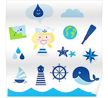 Nautic, sailor and adventure icons - blue Poster