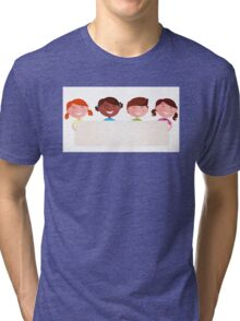 Cute multicultural kids holding a blank banner for your message Tri-blend T-Shirt