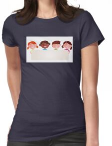 Cute multicultural kids holding a blank banner for your message Womens Fitted T-Shirt