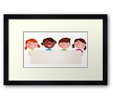 Cute multicultural kids holding a blank banner for your message Framed Print