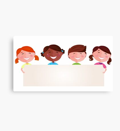 Cute multicultural kids holding a blank banner for your message Canvas Print