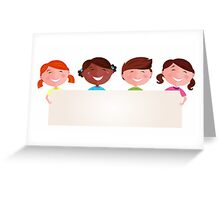 Cute multicultural kids holding a blank banner for your message Greeting Card