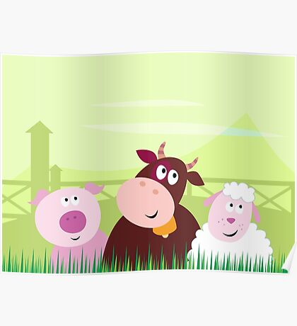 Farm animals - Pig, Cow and Sheep Poster