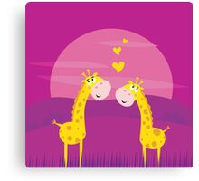 Two yellow african giraffes in love. Illustration of yellow two giraffes Canvas Print