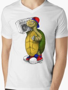 Hip Hop Boombox Turtle Mens V-Neck T-Shirt