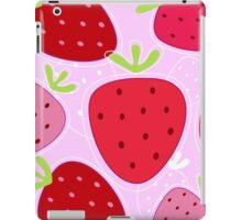 Stylized texture of red strawberry isolated on pink background iPad Case/Skin