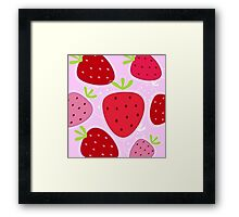 Stylized texture of red strawberry isolated on pink background Framed Print