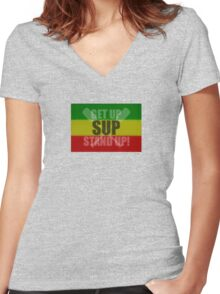 Get Up, Stand Up! Women's Fitted V-Neck T-Shirt