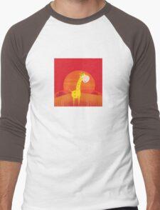 Cute giraffe inside nature africa sunset safari scene Men's Baseball ¾ T-Shirt