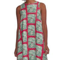 Red and Green Floral  A-Line Dress