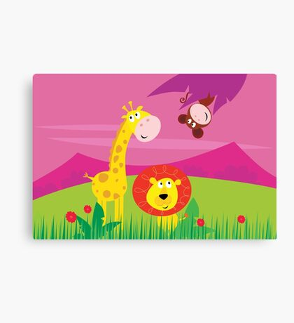 Funny jungle africa animals: Giraffe, Lion and Monkey Canvas Print