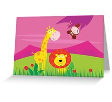 Funny jungle africa animals: Giraffe, Lion and Monkey Greeting Card