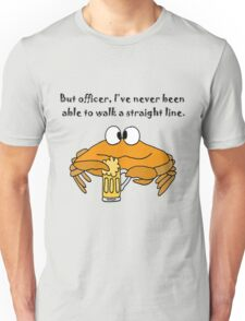 Funny Funky Crab Drinking Beer Cartoon Unisex T-Shirt