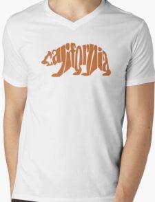 Brown California Bear Mens V-Neck T-Shirt