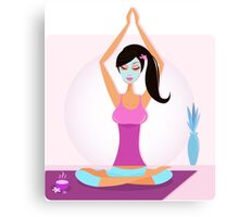 Yoga girl with facial mask practicing yoga asana Canvas Print