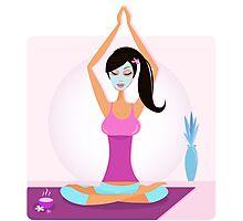 Yoga girl with facial mask practicing yoga asana Photographic Print