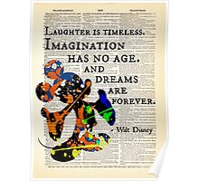 """Disney Quote w/ Mickey Mouse Art - """"Imagination Has No Age..."""" - Dictionary Art Print Poster"""