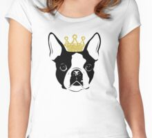 Boston Terrier with Crown Women's Fitted Scoop T-Shirt