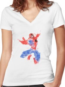 Jumping Spider Women's Fitted V-Neck T-Shirt