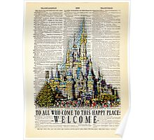 "Disney Castle, Mosaic Style, Opening Speech Quote ""To all who come..."" - Dictionary Art Print Poster"