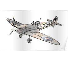 Submarine Spitfire Aircraft Poster