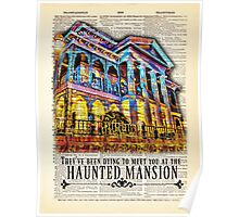 "Disneyland Haunted Mansion - Colorful Art Style - ""They've Been Dying To Meet You"" - Dictionary Art Print Poster"