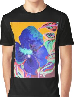 Birthday Acrylic Blue Orange Hibiscus Flower Painting with Red Graphic T-Shirt
