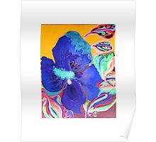 Birthday Acrylic Blue Orange Hibiscus Flower Painting with Red Poster