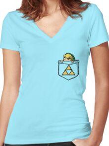 Legend of Zelda - Pocket Link Women's Fitted V-Neck T-Shirt