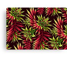 Fasciata Tropical Floral - Green Pink Canvas Print