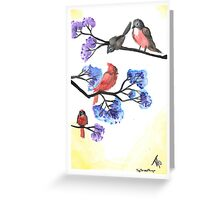 Red Birds and Crepe Myrtles Greeting Card