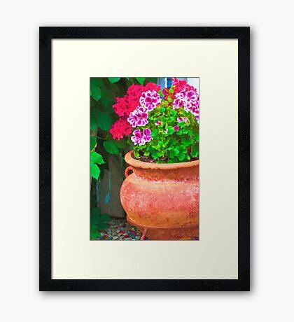 Martha's Geraniums - Oil Artwork Framed Print