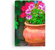 Martha's Geraniums - Oil Artwork Canvas Print