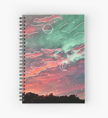 White Galaxy Aesthetic Clouds Spiral Notebook