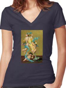 Vintage Cherubs Drinking Champagne Women's Fitted V-Neck T-Shirt