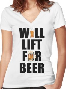 Workout Will Lift for Beer Women's Fitted V-Neck T-Shirt