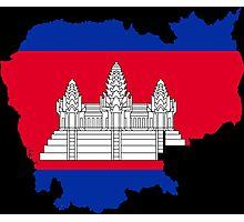 Cambodia Flag Map Photographic Print