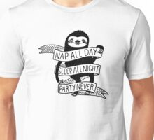 Nap All Day Party Never Unisex T-Shirt