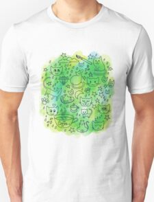 Cute Doodle Cats & Coffee Illustration Unisex T-Shirt