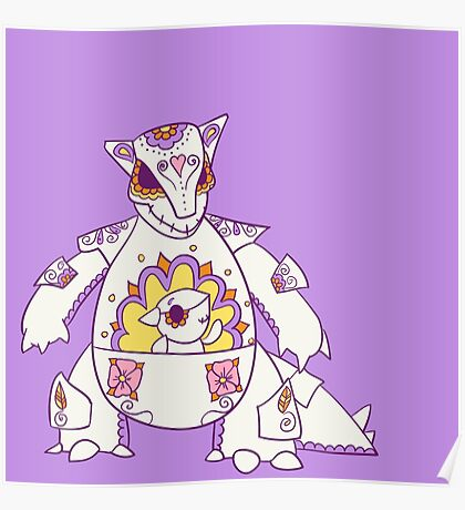 Kangaskhan Popmuerto | Pokemon & Day of The Dead Mashup Poster