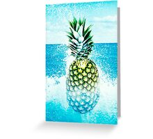 Pineapple and splashes of water Greeting Card